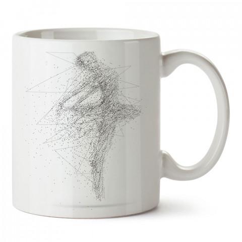 Balerin Desenli tasarım baskılı porselen kupa bardak modelleri (mug bardak). Dansçıya, balerine, bale ve dans sevenlere hediye. Kahve kupası.