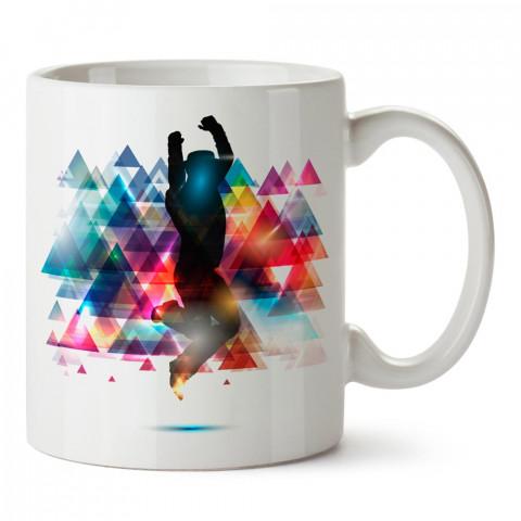 Disko Dansı ve Renkli Üçgenler tasarım baskılı porselen kupa bardak modelleri (mug bardak). Dansçıya ve dans severlere en güzel hediye. Kahve kupası.