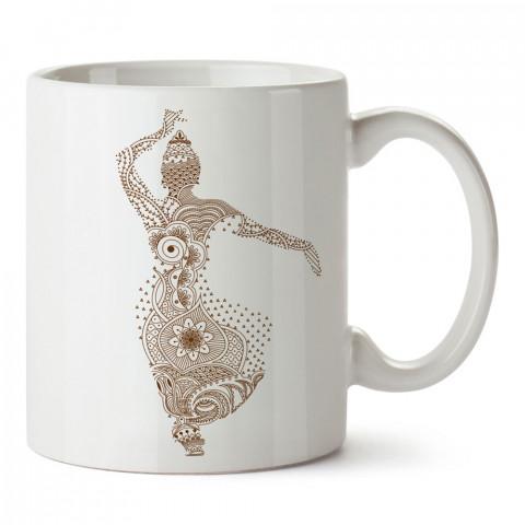 Hint Dansı tasarım baskılı porselen kupa bardak modelleri (mug bardak). Dansçılara, dans ve hint dansı sevenlere hediye. Kahve kupası.