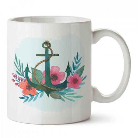 Çiçek Desenli Deniz Çıpası tasarım baskılı porselen kupa bardak modelleri (mug bardak). Denizcilere, yelkencilere ve deniz sevenlere hediye. Kahve kupası.