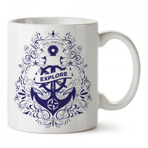 Keşif Deniz Çıpası tasarım baskılı porselen kupa bardak modelleri (mug bardak). Denizcilere, yelkencilere ve deniz sevenlere hediye. Kahve kupası.
