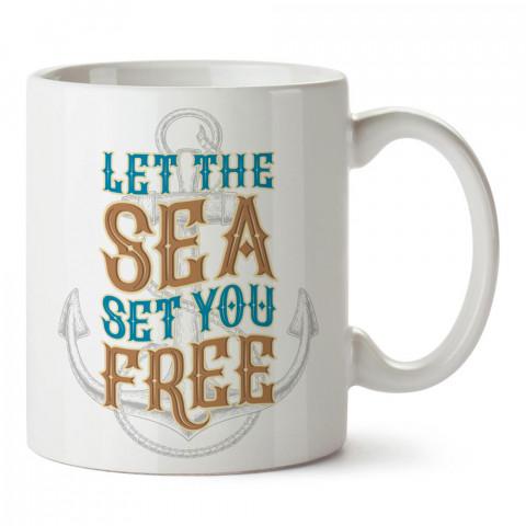 Deniz Seni Özgür Kılsın tasarım baskılı porselen kupa bardak modelleri (mug bardak). Denizcilere, yelkencilere ve deniz sevenlere hediye. Kahve kupası.