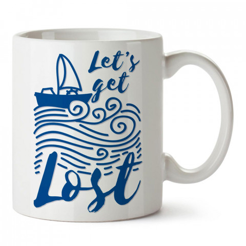 Hadi Kaybolalım tasarım baskılı porselen kupa bardak modelleri (mug bardak). Denizcilere, yelkencilere ve deniz sevenlere hediye. Yelkenli kahve kupası.