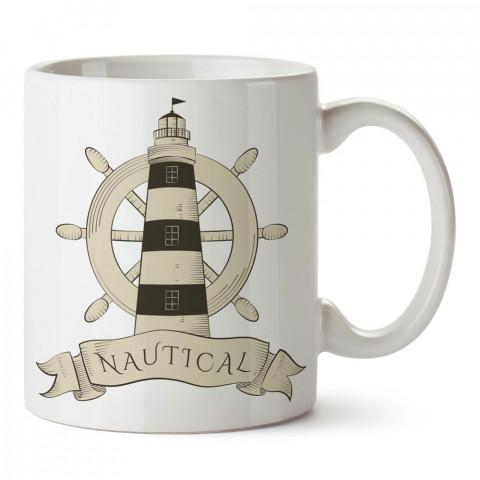 Nautical Deniz Feneri tasarım baskılı porselen kupa bardak modelleri (mug bardak). Denizcilere, yelkencilere ve deniz sevenlere hediye. Kahve kupası.