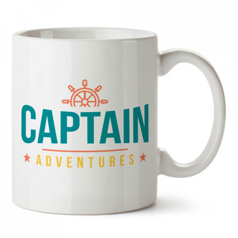 Kaptan Maceraları tasarım baskılı porselen kupa bardak modelleri (mug bardak). Denizcilere, yelkencilere ve deniz sevenlere hediye. Kahve kupası.