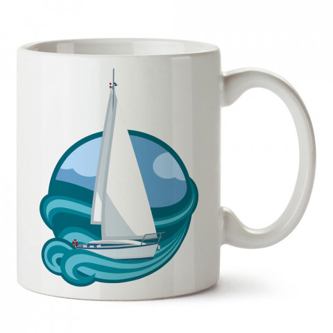 Yelkenli Soft Çizim tasarım baskılı porselen kupa bardak modelleri (mug bardak). Denizcilere, yelkencilere ve deniz sevenlere hediye. Kahve kupası.