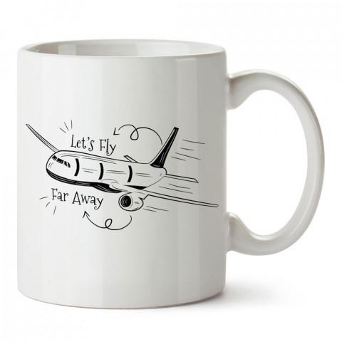 Uzaklara Uçalım tasarım baskılı porselen kupa bardak modelleri (mug bardak). Havacı, pilot, host, hostes ve seyahat sevenlere hediye. Kahve kupası.