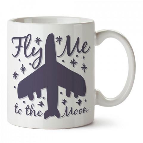 Beni Aya Uçur tasarım baskılı porselen kupa bardak modelleri (mug bardak). Havacı, pilot, host, hostes ve seyahat sevenlere hediye. Kahve kupası.