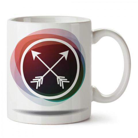 Arrows (oklar) tasarım baskılı porselen kupa bardak modelleri (mug bardak). Doğa, kamp, tatil ve seyahat sevenlere en güzel hediye. Kahve kupası.