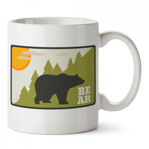 Bear Ayı ve Doğa tasarım baskılı porselen kupa bardak modelleri (mug bardak). Doğa, kamp, hayvan, tatil ve seyahat sevenlere en güzel hediye. Kahve kupası.