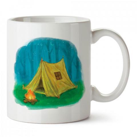 Boyama Çizim Doğa ve Kamp Keşfet tasarım baskılı porselen kupa bardak modelleri (mug bardak). Doğa, kamp, tatil ve seyahat sevenlere hediye. Kahve kupası.