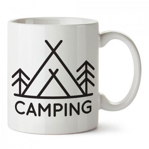 Camping Minimal Çadır tasarım baskılı porselen kupa bardak modelleri (mug bardak). Doğa, kamp, tatil ve seyahat sevenlere en güzel hediye. Kahve kupası.