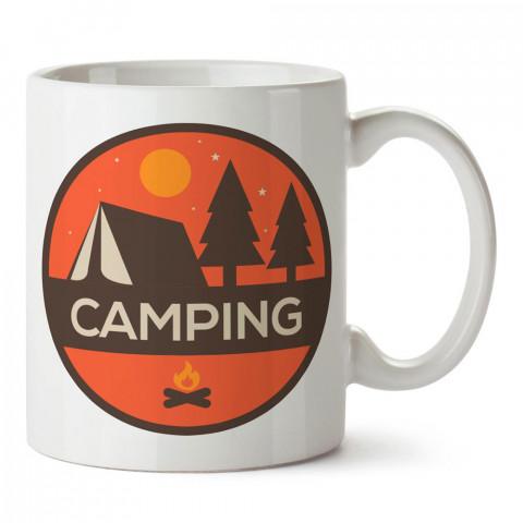 Camping Yuvarlak Çadır tasarım baskılı porselen kupa bardak modelleri (mug bardak). Doğa, kamp, orman, tatil ve seyahat sevenlere hediye. Kahve kupası.