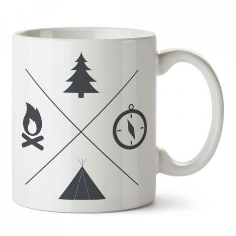 Minimal Kamp ve Doğa tasarım baskılı porselen kupa bardak modelleri (mug bardak). Doğa, kamp, orman, tatil ve seyahat sevenlere hediye. Kahve kupası.