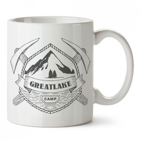 Göl ve Kamp tasarım baskılı porselen kupa bardak modelleri (mug bardak). Doğa, kamp, orman, tatil ve seyahat sevenlere hediye. Kahve kupası.