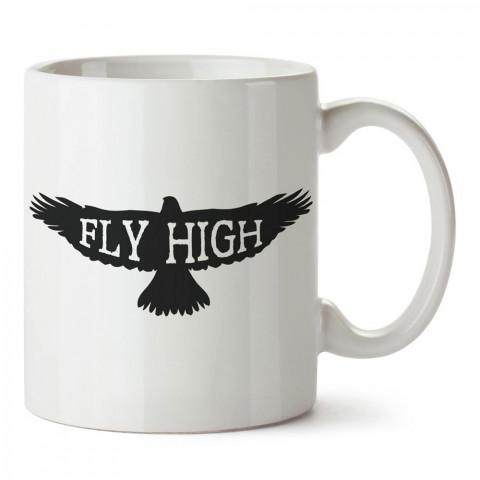 Fly High Şahin tasarım baskılı porselen kupa bardak modelleri (mug bardak). Hayvanseverlere ve hayvan sahiplerine en güzel hediye. Kahve kupası.