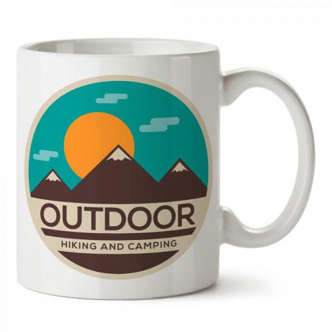Outdoor Doğa Yürüyüşü ve Kamp tasarım baskılı porselen kupa bardak modelleri (mug bardak). Doğa, kamp, orman, seyahat sevenlere hediye. Kahve kupası.