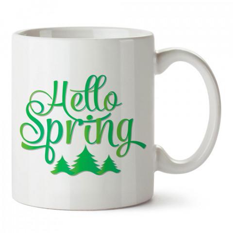Merhaba Bahar tasarım baskılı porselen kupa bardak modelleri (mug bardak). Mevsimler ve mevsim güzellikleri konulu hediye. Kahve kupası.