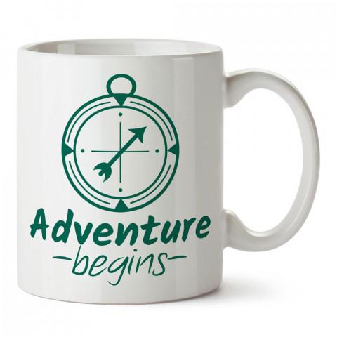 Macera Başlar Pusula tasarım baskılı porselen kupa bardak modelleri (mug bardak). Doğa, Tatil ve seyahat sevenlere hediye. Kahve kupası.