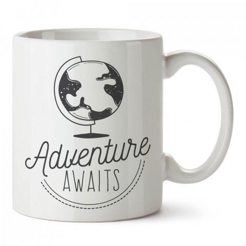 Macera Bekliyor Küre Dünya tasarım baskılı porselen kupa bardak modelleri (mug bardak). Doğa, Tatil ve seyahat sevenlere en güzel hediye. Kahve kupası.