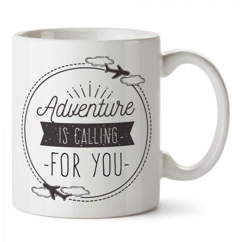 Macera Seni Çağırıyor tasarım baskılı porselen kupa bardak modelleri (mug bardak). Doğa, Tatil ve seyahat sevenlere en güzel hediye. Kahve kupası.