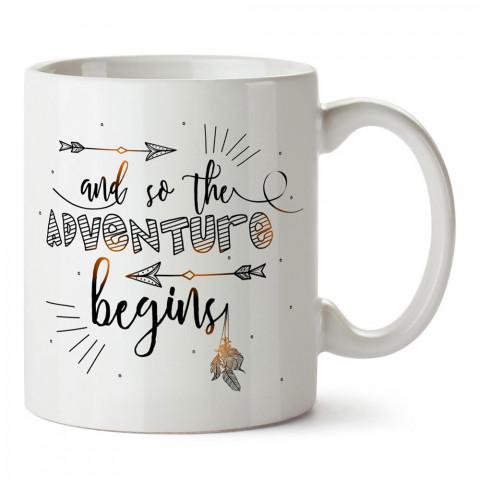 Böylece Macera Başlar tasarım baskılı porselen kupa bardak modelleri (mug bardak). Doğa, Macera, Tatil ve seyahat sevenlere en güzel hediye. Kahve kupası.