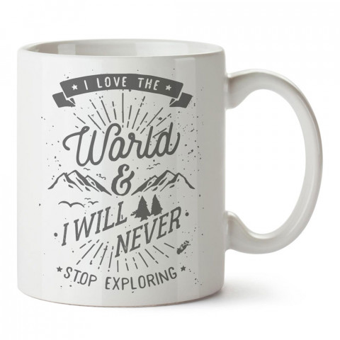 Dünyayı Seviyorum tasarım baskılı porselen kupa bardak modelleri (mug bardak). Doğa, macera, kamp, tatil ve seyahat sevenlere hediye. Kahve kupası.