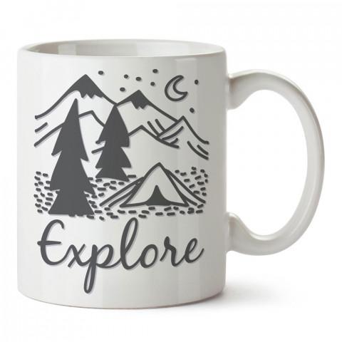 Explore Keşfetmek tasarım baskılı porselen kupa bardak modelleri (mug bardak). Doğa, macera, kamp, tatil ve seyahat sevenlere hediye. Kahve kupası.