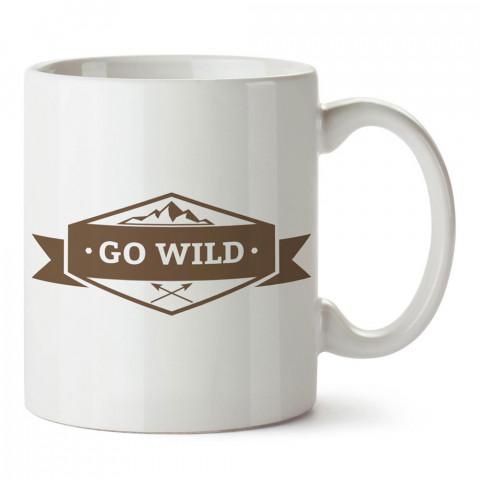 Go Wild tasarım baskılı porselen kupa bardak modelleri (mug bardak). Doğa, macera, kamp, tatil ve seyahat sevenlere hediye. Kahve kupası.