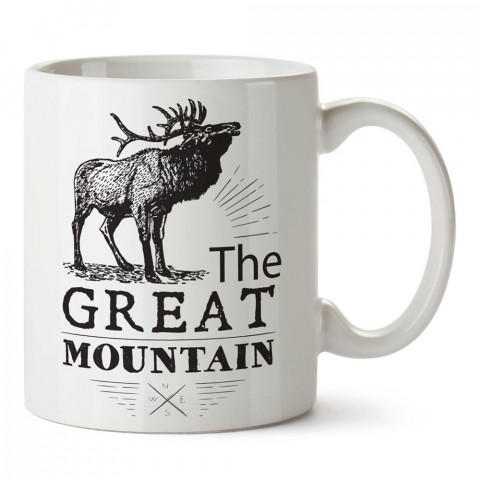 Görkemli Dağ tasarım baskılı porselen kupa bardak modelleri (mug bardak). Doğa, macera, kamp, hayvan, tatil ve seyahat sevenlere hediye. Kahve kupası.