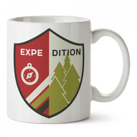 Keşif Expedition tasarım baskılı porselen kupa bardak modelleri (mug bardak). Doğa, macera, kamp ve tatil sevenlere hediye. Kahve kupası.