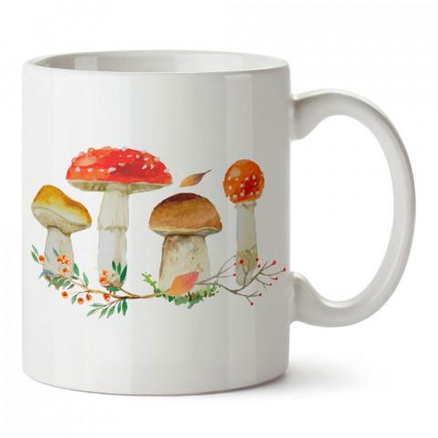 Renkli Mantarlar tasarım baskılı porselen kupa bardak modelleri (mug bardak). Doğa, macera, kamp, tatil ve seyahat sevenlere hediye. Kahve kupası.