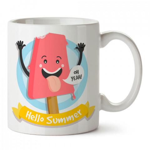 Hello Summer Pembe Dondurma tasarım baskılı porselen kupa bardak modelleri (mug bardak). Yaz mevsimi, tatil ve seyahat sevenlere hediye. Kahve kupası.