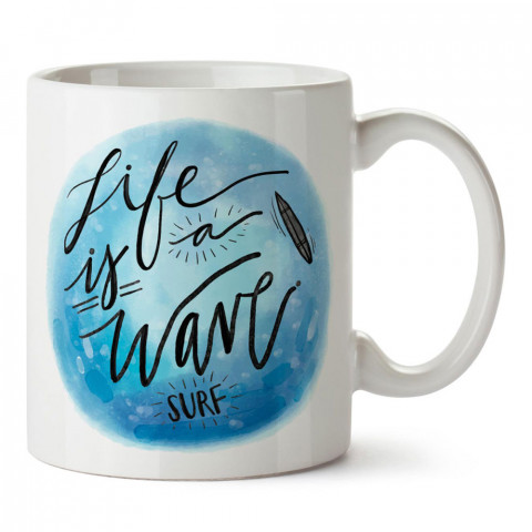 Hayat Bir Dalga Sörfü tasarım baskılı porselen kupa bardak modelleri (mug bardak). Yaz mevsimi, sörf, tatil ve seyahat sevenlere hediye. Kahve kupası.