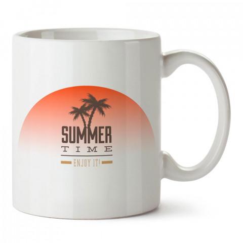 Yaz Zamanı Tadını Çıkar tasarım baskılı porselen kupa bardak modelleri (mug bardak). Yaz mevsimi, tatil, seyahat sevenlere hediye. Kahve kupası.