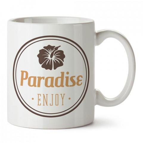 Cennetin Tadını Çıkar tasarım baskılı porselen kupa bardak modelleri (mug bardak). Yaz mevsimi, tatil ve seyahat sevenlere hediye. Orkide kahve kupası.