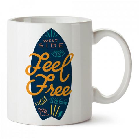 Feel Free Sörf tasarım baskılı porselen kupa bardak modelleri (mug bardak). Yaz mevsimi, tatil ve seyahat sevenlere en güzel hediye. Kahve kupası.