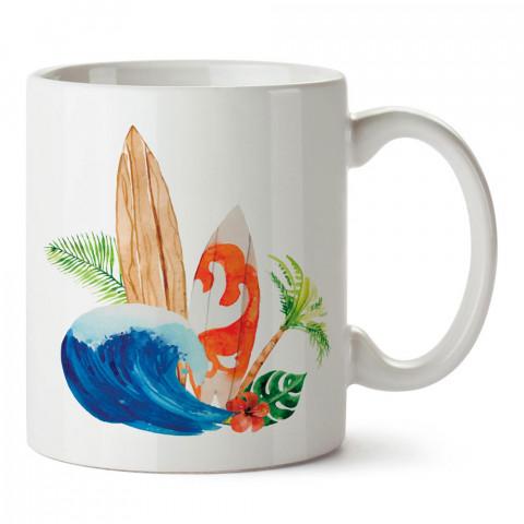 Sörf Palmiye ve Deniz Çizimli tasarım baskılı porselen kupa bardak modelleri (mug bardak). Yaz mevsimi, tatil severlere hediye. Kahve kupası.