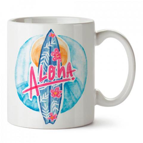Sulu Boya Aloha Sörf tasarım baskılı porselen kupa bardak modelleri (mug bardak). Yaz mevsimi, tatil ve seyahat sevenlere en güzel hediye. Kahve kupası.