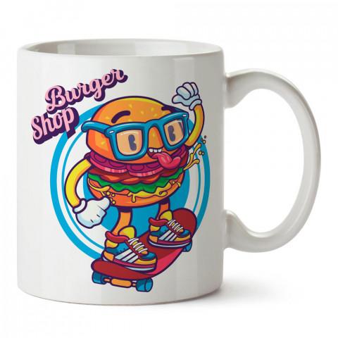 Hamburger Kaykaycı tasarım baskılı porselen kupa bardak modelleri (mug bardak). Kaykaycılara ve patencilere en güzel hediye. Kahve kupası.