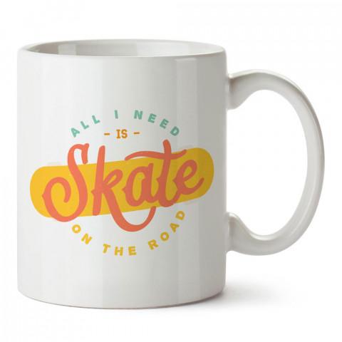 İhtiyacım Olan Tek Şey Kaykay tasarım baskılı porselen kupa bardak modelleri (mug bardak). Kaykaycılara ve patencilere en güzel hediye. Kahve kupası.