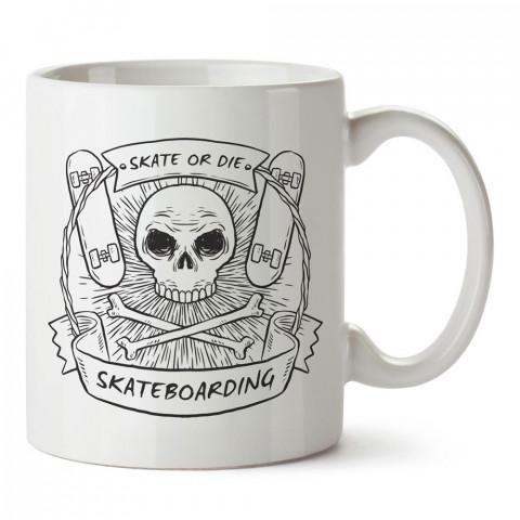 Kay Ya Da Öl Kuru Kafa Kaykay tasarım baskılı porselen kupa bardak modelleri (mug bardak). Kaykaycılara ve patencilere en güzel hediye. Kahve kupası.