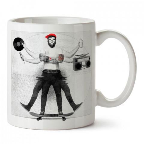 Müzik ve Kaykaylı Hipster tasarım baskılı porselen kupa bardak modelleri (mug bardak). Kaykaycılara ve patencilere en güzel hediye. Kahve kupası.