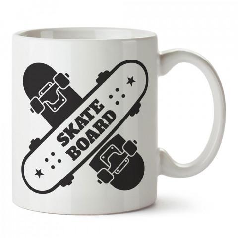 X Skateboard Kaykay tasarım baskılı porselen kupa bardak modelleri (mug bardak). Kaykaycılara ve patencilere en güzel hediye. Kahve kupası.