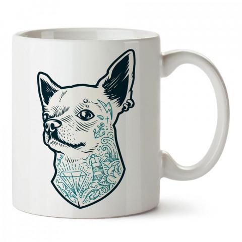 Dövmeli Köpek tasarım baskılı porselen kupa bardak modelleri (mug bardak). Dövmecilere, tattoo, dövme severlere en güzel hediye. Kahve kupası.