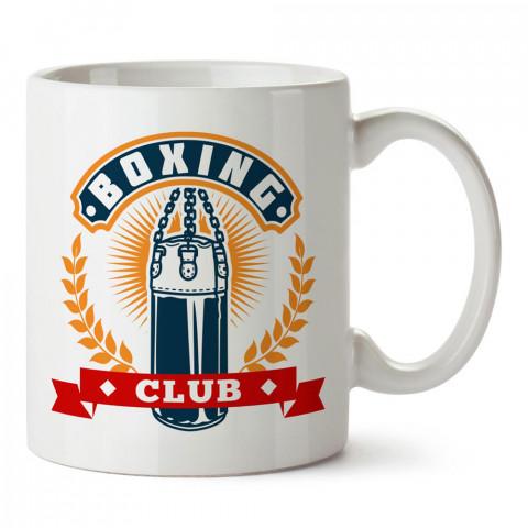 Boks Kulübü Kum Torbası tasarım baskılı porselen kupa bardak modelleri (mug bardak). Dövüş, savunma, savaş sanatları ile ilgili hediye. Kahve kupası.
