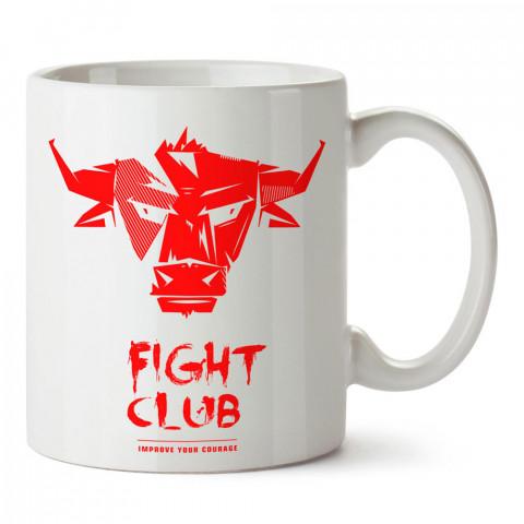Dövüş Kulübü Boğa tasarım baskılı porselen kupa bardak modelleri (mug bardak). Dövüş, savunma, savaş sanatları ile ilgili hediye. Kahve kupası.
