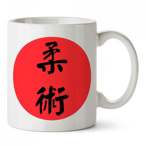 Japonca Jiu Jitsu tasarım baskılı porselen kupa bardak modelleri (mug bardak). Dövüş, savunma, savaş sanatları ile ilgili hediye. Kahve kupası.