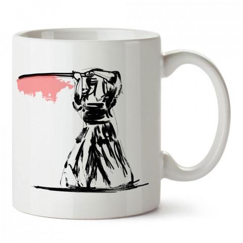 Karakalem Samurai tasarım baskılı porselen kupa bardak modelleri (mug bardak). Dövüş, savunma, savaş sanatları ile ilgili hediye. Kahve kupası.