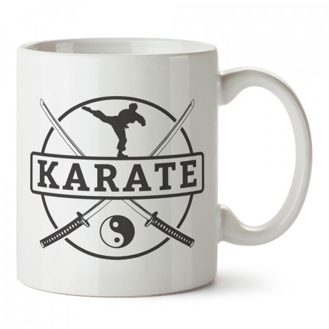 Karate Yin Yang tasarım baskılı porselen kupa bardak modelleri (mug bardak). Dövüş, savunma, savaş sanatları ile ilgili hediye. Kahve kupası.
